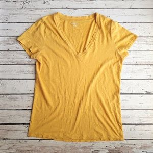 J CREW Vintage Cotton Golden Yellow V Neck Tee M